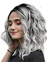 cheap -women full wigs, lady natural mix colors gray gradient short curly hair synthetic wig high temperature silk wigs (gray)