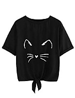 cheap -women's casual short sleeve knotted front tee shirt cat print crop top black l