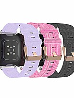cheap -bands compatible with fitbit versa 3 /sense watch band for women and men, breathable woven fabric straps replacement wristband for fitbit sense & versa 3 smart watch (black&pink&purple)