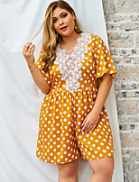 cheap -Women's Shift Dress Knee Length Dress - Short Sleeve Print Lace Print Summer Plus Size Casual Loose 2020 Yellow Royal Blue XL XXL 3XL 4XL