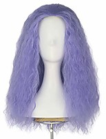 cheap -men adult unisex long fluffy curly party cosplay costume wig halloween 80s punk wig (lavender)