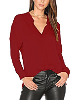 cheap -women's long sleeves v neck chiffon blouses office work loose tops shirt (xxl, 3)