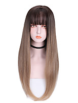 cheap -Synthetic Wig Straight With Bangs Wig Long Brown Purple Synthetic Hair 24 inch Women's Soft Cool Color Gradient Brown Purple