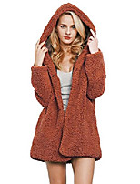 cheap -womens girls hooded faux fur long length outerwear coat jacket with hood coffee us s tag xl