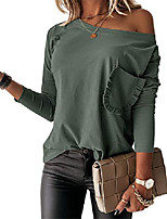 cheap -womens off the shoulder dolman top casual basic long sleeve solid tshirt green
