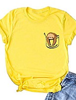 cheap -women plus size short sleeve fake pocket sloth tops funny cute junior teen t shirt yellow m