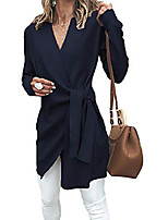 cheap -women's casual warp front v neck tie knot wool coat pullover belted waist chunky knitted sweater dress tops knitwear (navy,x-large)