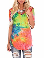 cheap -womens tops v neck loose tee casual oversized short sleeve basic tie dye t shirts plus size for women (color: 8002, size: x-large)
