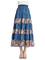 cheap -womens tencel denim long midi skirt tired multi layers fancy geometric print patchwork (xxl,blue)