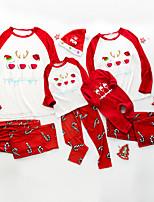 cheap -Family Look Santa Claus Graphic Print Long Sleeve Regular Regular Clothing Set White