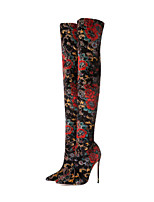 cheap -Women's Boots Stiletto Heel Pointed Toe Over The Knee Boots Casual Daily Walking Shoes Elastic Fabric Red