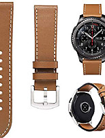 cheap -bands for samsung gear s3 frontier/classic watch leather bracelet, 22mm premium leather straps with stainless steel buckle replacement wristband for samsung gear s3 frontie (brown-leather band)