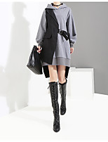 cheap -Women's Two Piece Dress Short Mini Dress - Long Sleeve Color Block Lace up Patchwork Plus High Low Winter Casual Loose 2020 Gray One-Size