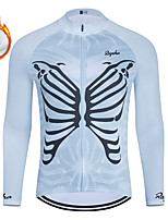 cheap -WECYCLE Men's Women's Long Sleeve Cycling Jersey Winter Fleece Polyester Blue Butterfly Bike Jersey Top Mountain Bike MTB Road Bike Cycling Fleece Lining Breathable Warm Sports Clothing Apparel