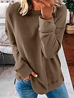 cheap -Women's Tunic Plain Long Sleeve Round Neck Tops Basic Basic Top White Black Blue