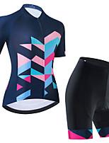 cheap -Women's Short Sleeve Cycling Jersey Cycling Jersey with Bib Shorts Cycling Jersey with Shorts Black Dark Navy Black / White Bike Breathable Quick Dry Sports Geometric Mountain Bike MTB Road Bike