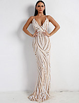 cheap -Mermaid / Trumpet Elegant Sexy Prom Formal Evening Dress V Neck Sleeveless Sweep / Brush Train Spandex with Sequin 2020