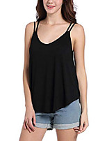 cheap -tank tops for women loose casual sleeveless vests camisoles v neck t-shirt black