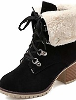 cheap -women's winter warm snow boots lace-up chunky heel full fur lined ankle boots outdoor shoes