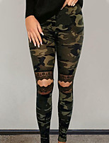 cheap -Women's Sporty Ripped Breathable Daily Skinny Pants Pants Camouflage Patterned Full Length Print Black Khaki Green Brown