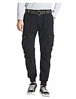 cheap -houshelp men's outdoor casual hiking cargo pants with pockets jogger sweatpants outdoor work military tactical pants black