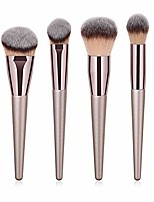 cheap -ziyunver 4pcs luxury champagne gold makeup brush set, premium synthetic foundation blending powder liquid cream buffing tapered concealer contour face kabuki make up brushes cosmetics tools applicator