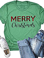 cheap -womens merry christmas leopard printed t-shirt funny buffalo plaid short sleeve xmas casual holiday graphic tee tops (green, xx-large)