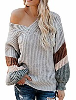 cheap -women's v neck long sleeve striped knitted loose pullover sweater 2019 new gray
