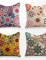 cheap -Cushion Cover 4PCS Linen Soft Decorative Square Throw Pillow Cover Cushion Case Pillowcase for Sofa Bedroom 45 x 45 cm (18 x 18 Inch) Superior Quality Mashine Washable Colorful Floral Printed