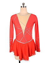 cheap -Figure Skating Dress Women's Girls' Ice Skating Dress Red Spandex High Elasticity Training Competition Skating Wear Crystal / Rhinestone Long Sleeve Ice Skating Figure Skating / Kids