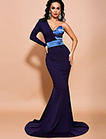 cheap -Mermaid / Trumpet Color Block Sexy Prom Formal Evening Dress One Shoulder Long Sleeve Sweep / Brush Train Spandex with Sleek 2020