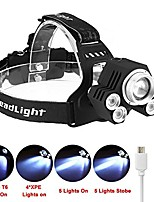 cheap -ultra bright 5-led zoom led rechargeable 18650 headlamp