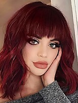cheap -wine red short curly wavy wigs with bangs shoulder length wigs for women natural fashion bob synthetic wig for girl burgundy color