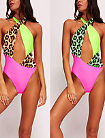cheap -Women's Fashion Sexy Board Shorts Swimsuit Leopard Print Padded Normal Swimwear Bathing Suits Yellow Green / One Piece / Padded Bras