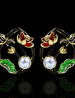cheap -Women's Pearl Stud Earrings Drop Earrings Monogram Holiday Elegant Vintage Colorful Earrings Jewelry Black For Street Gift Festival 1 Pair