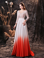 cheap -A-Line Color Block Sexy Engagement Prom Dress Jewel Neck 3/4 Length Sleeve Sweep / Brush Train Chiffon Lace with Lace Insert 2020