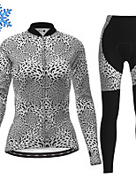 cheap -21Grams Women's Long Sleeve Cycling Jersey with Tights Winter Fleece Polyester Dark Gray Leopard Bike Clothing Suit Thermal Warm Fleece Lining Breathable 3D Pad Warm Sports Leopard Mountain Bike MTB