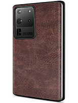 cheap -salawat galaxy s20 ultra case, slim pu leather vintage shockproof phone case cover lightweight soft tpu bumper hard pc hybrid protective case for samsung galaxy s20 ultra 6.9inch 2020 (dark brown)