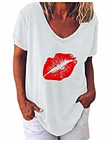cheap -women short sleeve tops, womens comfy v neck t-shirt funny cute lip print graphic tees pullover shirts blouses