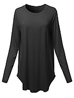 cheap -women solid long sleeve round hem crew neck top shirt black 2xl