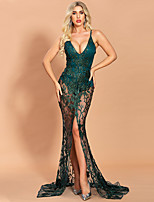 cheap -Mermaid / Trumpet Floral Sexy Prom Formal Evening Dress Spaghetti Strap Sleeveless Sweep / Brush Train Spandex Lace with Sequin Split 2020