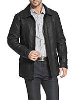 cheap -men's hunter lambskin leather coat black xx-large