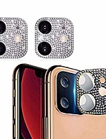 cheap -bling crystal camera lens protector for iphone 11, 2 pack rear camera cover 3d bling diamond lens cover protective ring decoration sticker protector (iphone 11,silver)