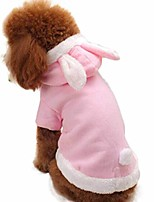 cheap -pet dogs rabbit bunny costumes fleece hoodie every day christmas for small-sized dogs (s, pink)