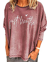 cheap -womens casual tops letter print t shirts round neck long sleeve loose pullover tshirts for women pink