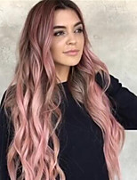 cheap -Synthetic Wig Bouncy Curl Middle Part Wig Long Pink / Grey Synthetic Hair Women's Soft Elastic Fluffy Pink