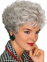 cheap -gray wigs for women short curly ladies wig synthetic hair white womens full wigs with wig cap (silver gray) z120e