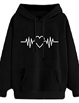 cheap -long sleeve fleece pullover hoodie for women heartbeat print sweatshirts with a kangaroo pocket casual sweater hooded black