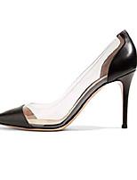 cheap -women's 80mm pointed toe transparent pumps clear pvc high heels dress shoes matte us6.5