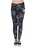 cheap -Women's Sporty Comfort Skinny Gym Yoga Leggings Pants 3D Letter Full Length Print High Waist Navy Blue